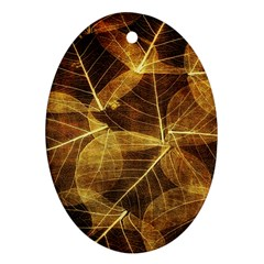 Leaves Autumn Texture Brown Oval Ornament (two Sides) by Simbadda