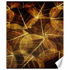 Leaves Autumn Texture Brown Canvas 20  X 24   by Simbadda