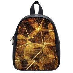 Leaves Autumn Texture Brown School Bags (small)  by Simbadda