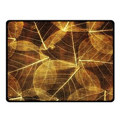 Leaves Autumn Texture Brown Fleece Blanket (small)