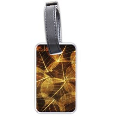 Leaves Autumn Texture Brown Luggage Tags (two Sides) by Simbadda