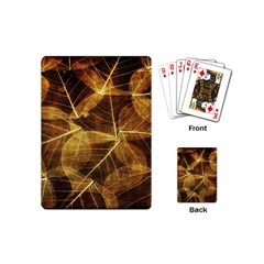 Leaves Autumn Texture Brown Playing Cards (mini)  by Simbadda