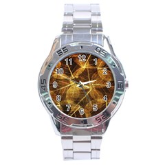 Leaves Autumn Texture Brown Stainless Steel Analogue Watch by Simbadda