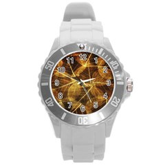 Leaves Autumn Texture Brown Round Plastic Sport Watch (l) by Simbadda
