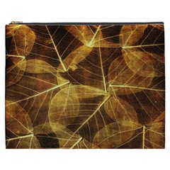 Leaves Autumn Texture Brown Cosmetic Bag (xxxl)  by Simbadda