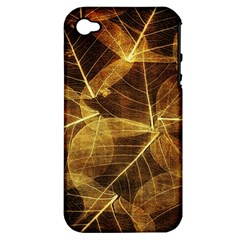 Leaves Autumn Texture Brown Apple Iphone 4/4s Hardshell Case (pc+silicone) by Simbadda