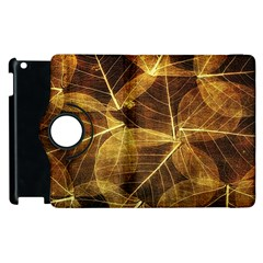 Leaves Autumn Texture Brown Apple Ipad 2 Flip 360 Case by Simbadda