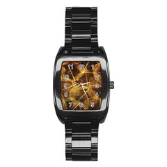 Leaves Autumn Texture Brown Stainless Steel Barrel Watch by Simbadda