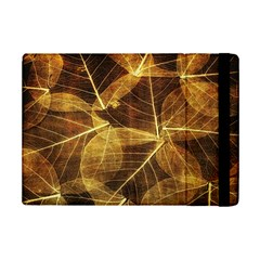 Leaves Autumn Texture Brown Ipad Mini 2 Flip Cases by Simbadda