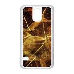 Leaves Autumn Texture Brown Samsung Galaxy S5 Case (white) by Simbadda