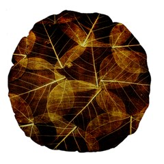 Leaves Autumn Texture Brown Large 18  Premium Flano Round Cushions by Simbadda