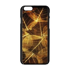 Leaves Autumn Texture Brown Apple Iphone 6/6s Black Enamel Case by Simbadda