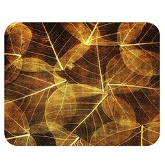 Leaves Autumn Texture Brown Double Sided Flano Blanket (medium)  by Simbadda