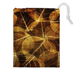 Leaves Autumn Texture Brown Drawstring Pouches (xxl) by Simbadda