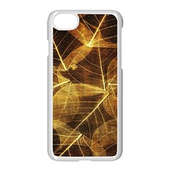 Leaves Autumn Texture Brown Apple Iphone 7 Seamless Case (white) by Simbadda