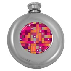 Abstract Background Colorful Round Hip Flask (5 Oz) by Onesevenart