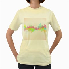 Abstract Color Pattern Colorful Women s Yellow T Shirt by Onesevenart
