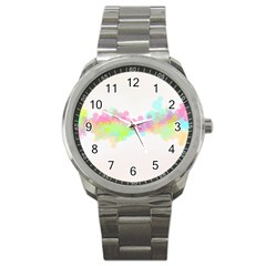 Abstract Color Pattern Colorful Sport Metal Watch by Onesevenart
