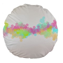 Abstract Color Pattern Colorful Large 18  Premium Flano Round Cushions by Onesevenart