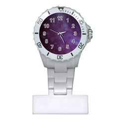 Abstract Purple Pattern Background Plastic Nurses Watch by Onesevenart