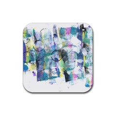 Background Color Circle Pattern Rubber Coaster (square)  by Onesevenart