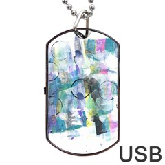 Background Color Circle Pattern Dog Tag Usb Flash (two Sides) by Onesevenart