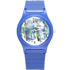 Background Color Circle Pattern Round Plastic Sport Watch (s) by Onesevenart
