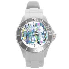 Background Color Circle Pattern Round Plastic Sport Watch (l) by Onesevenart