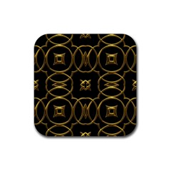 Black And Gold Pattern Elegant Geometric Design Rubber Coaster (square)  by yoursparklingshop