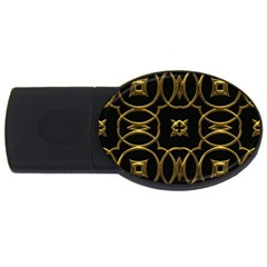 Black And Gold Pattern Elegant Geometric Design Usb Flash Drive Oval (4 Gb) by yoursparklingshop