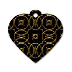 Black And Gold Pattern Elegant Geometric Design Dog Tag Heart (two Sides) by yoursparklingshop
