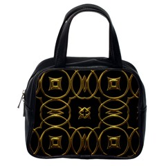 Black And Gold Pattern Elegant Geometric Design Classic Handbags (one Side) by yoursparklingshop