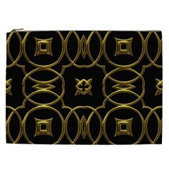 Black And Gold Pattern Elegant Geometric Design Cosmetic Bag (xxl)  by yoursparklingshop