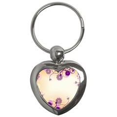 Background Floral Background Key Chains (heart)  by Onesevenart