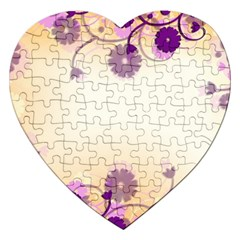 Background Floral Background Jigsaw Puzzle (heart) by Onesevenart