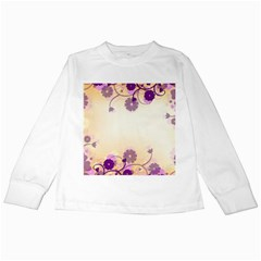 Background Floral Background Kids Long Sleeve T Shirts by Onesevenart