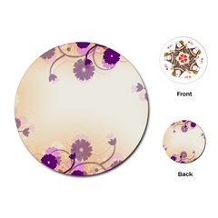 Background Floral Background Playing Cards (round)  by Onesevenart