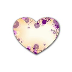 Background Floral Background Rubber Coaster (heart)  by Onesevenart