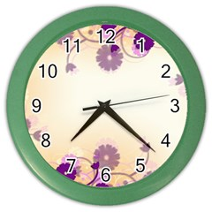 Background Floral Background Color Wall Clocks by Onesevenart