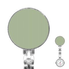 Background Pattern Green Stainless Steel Nurses Watch by Onesevenart