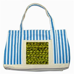 Basket Woven Braid Wicker Striped Blue Tote Bag by Onesevenart