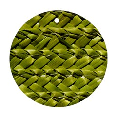Basket Woven Braid Wicker Round Ornament (two Sides) by Onesevenart