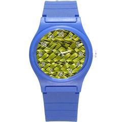 Basket Woven Braid Wicker Round Plastic Sport Watch (s) by Onesevenart