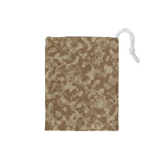 Camouflage Tarn Texture Pattern Drawstring Pouches (small)  by Onesevenart