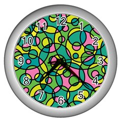 Circle Background Background Texture Wall Clocks (silver)  by Onesevenart