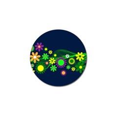 Flower Power Flowers Ornament Golf Ball Marker by Onesevenart