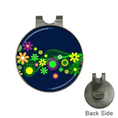 Flower Power Flowers Ornament Hat Clips With Golf Markers by Onesevenart