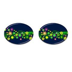 Flower Power Flowers Ornament Cufflinks (oval) by Onesevenart