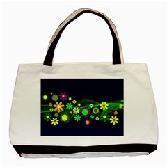 Flower Power Flowers Ornament Basic Tote Bag (two Sides) by Onesevenart