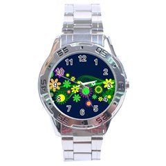 Flower Power Flowers Ornament Stainless Steel Analogue Watch by Onesevenart